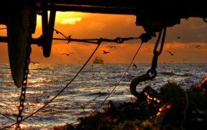 Puesta de sol, pesca Alaska