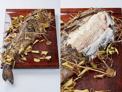 Bacalao de Alaska horneado con heno