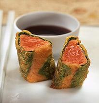 Won-ton crocante de salmón rojo con salsa Teriyake
